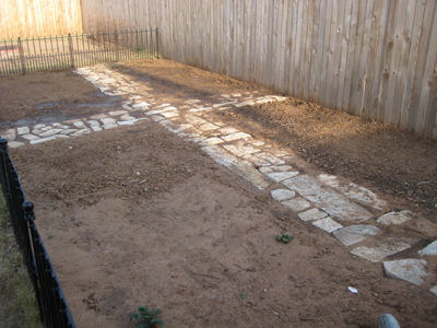 Garden after stone was laid.